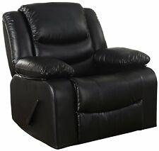 Bonded Leather Rocker Recliner Living Room Chair (Black)