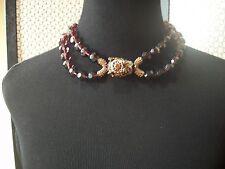 HEIDI DAUS Necklace Fu Dog Multi Swarovski Crystal  2 PURPLE Strands Free Shp