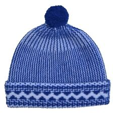 Burberry - Knitted Cap Felted Fairisle Beanie - 100% Cashmere - Blue White - New