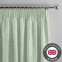 Green Floral Patterned Made To Measure Curtains - Luxury Lined Thick Curtains