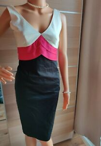 M&S AUTOGRAPH FITTED LAYERED BLOCK DRESS SIZE UK 8 PINK CREAM BLACK