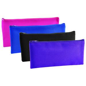 Flat School Girls Boys Children's Pencil Case - Black, Pink, Blue and Purple