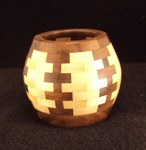 """Segmented Bowl Handcrafted Lathe Turned-4.1"""" dia.x 3.5"""" ht. Natural Wood 2021-01"""