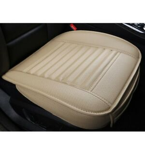 3D Universal PU Leather Car Seat Cover Protector Cushion Front Covers Beige New
