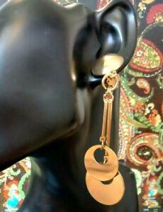 VINTAGE EARRINGS Clip On 1980/90s Gold Tone Long DangleDrop CIRCLES Design.