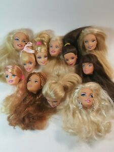 Lot of 11 Barbie Heads Only  1991 - 1999 For Repaint Repair