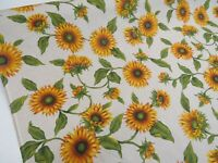 Sunflower Floral Linen Look Cotton Curtain Fabric Upholstery Quilting Crafts