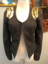 MAISON SCOTCH BLAZER JACKET GRAY WITH GOLD SEQUINS ON SHOULDERS SIZE SMALL