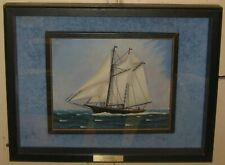 CAPTAIN JAMES KEATING 'Schooner Dolphin' SAILBOAT Carved Diorama & OIL PAINTING