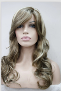 Women Wig New Long Curly Wig Brown Gold Wig Mixed Color Wig+Wig Cap
