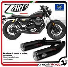 Zard 2 terminali scarico acciaio nero omologato Moto Guzzi V9 Bobber/Roamer 17>