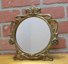 Antique Art Nouveau Mirror Decorative Arts Cast Iron Gold Dresser Countertop 181