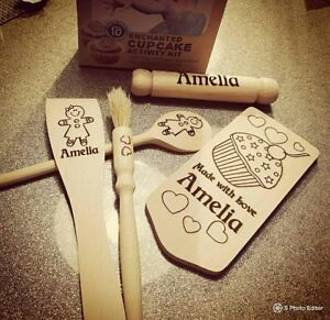 Personalized childs baking set -gingerbread boy or girl any name