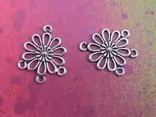 20 Flower Charms Silver Metal Connectors 1 to 3 Hole Pendants Component Earring