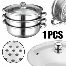 Stainless Steel 3 Tier Steamer Induction Steaming Saucepan Pot Cookware Tools