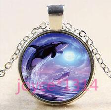 Vintage whale Cabochon Tibetan silver Glass Chain Pendant Necklace #3416