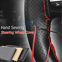 Car PU Leather Steering Wheel Cover DIY With Thread & Needle Hand Sewing Auto