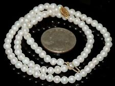 """Solid 14K Gold 6 mm Strand Off White Cultured Pearl Necklace 22.70 Grams 18.25"""""""
