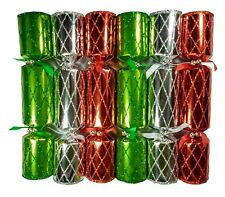 6 x Premium Elite Christmas Crackers Bon Bons 30cm Red & Green Metallic Foil