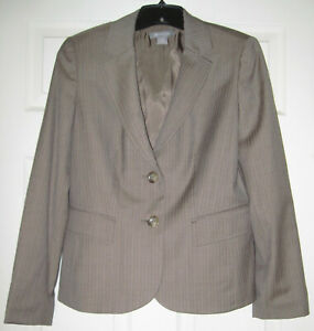 New without tags Ann Taylor Suit Set Size 8 Taupe pin stripe