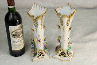 Antique Pair vieux paris porcelain vases floral decor