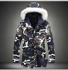 Men's Camo Warm Down Cotton Jacket Fur Collar Thick Winter Hooded Coat Parka