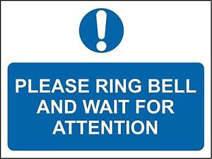 Warning Please ring bell and wait for attention metal park safety sign
