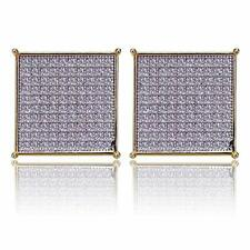Block Screw Back Stud Earrings 10mm Hip Hop Iced Out Large Square Flat