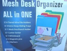 Office Mesh Desk Organizer 6 Tiered File Holder 3 Sliding Trays Dry Erase Board