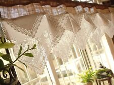 """CUSTOM 54"""" ANTIQUE Lace French Roses Valance BURLAP Curtain SHABBY Rustic Chic"""