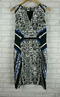 David Lawrence Pencil dress Sz 10 Black, grey, blue print V-neck Sleeveless