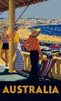 "Vintage Travel Australia Poster A4 CANVAS Paper PRINT Bondi Beach 12"" X 8"""