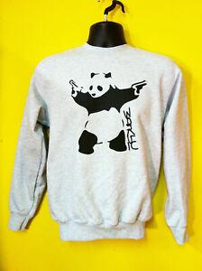Banksy Panda With Gun Pistols Street Art Sweatshirt Jumper Grey S-3XL Sizes