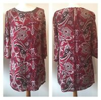 Red Floral Tunic Dress Autumn Winter Embellished Work Christmas Size 12