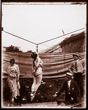 "Fred Glasier Circus Photo, ""Practicing Hanging by the Teeth"" 1890-1925"