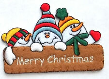Snowman - Snowmen - Merry Christmas - Winter Embroidered Iron On Applique Patch