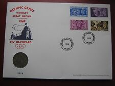GB 1948 Wembley XIV Olympiad Half Crown Coin & 4 Stamps Cover 2012 Museum Issue