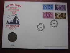GB 1948 Wembley XIV Olimpiada media corona moneda y 4 Estampillas Cubierta 2012 Museo problema