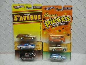 Hot Wheels Pop Culture Hersheys (6) Car Set w/Reeses Pieces Volkswagen Micro Bus