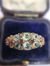 Antique Victorian Yellow Gold Ruby And Chrysoberyl Stunning Unusual Stone Ring