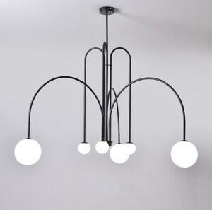 Modern Danish Metal Glass Line Pendant Light Living Room Bedroom Chandelier