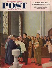 1954 Saturday Evening Post March 13 - Baby baptism; Uranium City Canada; Jeep
