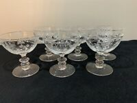 Set Of Six Fostoria PLYMOUTH Etched Footed Sherbet Champagne Glasses