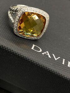 David Yurman Sterling Silver Albion Citrine14mm & diamonds  ring Size 8