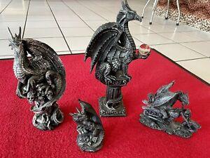 Drachen Figuren 4x Deko Garten Gothic Fantasy