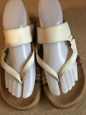 GABOR JOLLYS STRAPPY WHITE LEATHER TOE POST SANDALS... SIZE UK 4 1/2... EU 37.5.