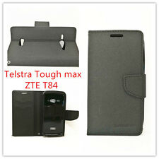 Mooncase Black Wallet Case Cover for Telstra Tough Max T84 Free Screen Guard