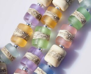 FRISKEY handmade Lampwork Glass Beads, SEA GLASS & SAND !!!