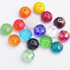 New Wholesale 10/12/14/16/18mm Rondelle Faceted Crystal Glass Loose Spacer Beads