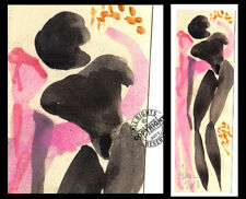 """""""Your Touch"""" Lovers Embrace make love black pink Watercolor PAINTING 28 Abstract"""